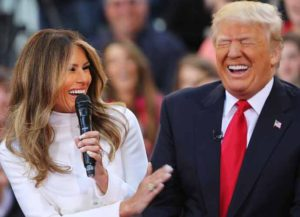 NEW YORK, NY - APRIL 21: Republican presidential candidate Donald Trump sits with his wife Melania Trump while appearing at an NBC Town Hall at the Today Show on April 21, 2016 in New York City. The GOP front runner appeared with his wife and family and took questions from audience members