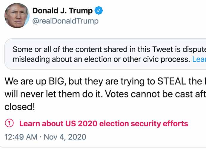 Twitter Places Warnings On Trump's 'Misleading' Election Tweetstorm