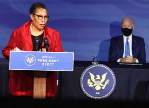 WILMINGTON, DELAWARE - DECEMBER 11: Rep. Marcia Fudge (D-OH) delivers remarks after being introduced as U.S. President-elect Joe Biden's nominee to head the Department of Housing and Urban Affairs at the Queen Theater on December 11, 2020 in Wilmington, Delaware. President-elect Joe Biden is continuing to round out his domestic team with the announcement of his choices for cabinet secretaries of Veterans Affairs and Agriculture, and the heads of his domestic policy council and the U.S. Trade Representative.
