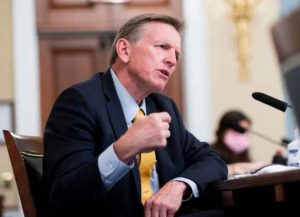 WASHINGTON, DC - JULY 28: Rep. Paul Gosar, (D-AZ), questions Gregory T. Monahan, Acting Chief U.S. Park Police National Park Police, during the House Natural Resources Committee hearing on Unanswered Questions About the US Park Police's June 1 Attack on Peaceful Protesters at Lafayette Square on July 28, 2020 in Washington, DC. (Photo by Bill Clark-Pool/Getty Images)