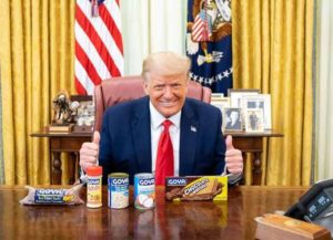 Trump poses in Oval Office with Goya products after calls for a boycott (Image: Twitter)