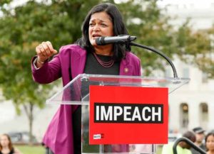 "WASHINGTON, DC - SEPTEMBER 26: Rep. Pramila Jayapal (D-WA) speaks at the ""Impeachment Now!"" rally in support of an immediate inquiry towards articles of impeachment against U.S. President Donald Trump on the grounds of the U.S. Capital on September 26, 2019in Washington, DC. (Photo by Paul Morigi/Getty Images for MoveOn Political Action)"
