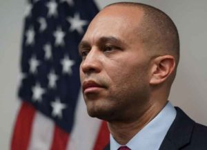 WASHINGTON, DC - JANUARY 09: U.S. House Democratic Caucus Chairman Rep. Hakeem Jeffries (D-NY) listens during a news conference after a caucus meeting at the U.S. Capitol January 9, 2019 in Washington, DC. House Democrats gathered to discuss the Democratic agenda as the partial government shutdown enters day 19. (Photo by Alex Wong/Getty Images)