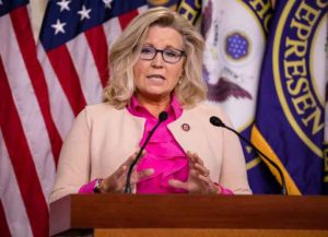 WASHINGTON, DC - JULY 21: U.S. Rep. Liz Cheney (R-WY) speaks during a news conference with other Republican members of the House of Representatives at the Capitol on July 21, 2020 in Washington, DC. (Photo by Samuel Corum/Getty Images)