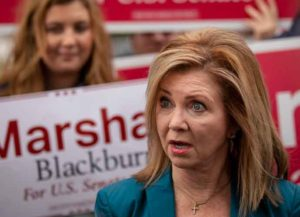 FRANKLIN, TN - OCTOBER 31: U.S. Rep. Marsha Blackburn (R-TN), Republican candidate for U.S. Senate, speaks to reporters after she cast her ballot during early voting at the Williamson County Clerk's office, October 31, 2018 in Franklin, Tennessee. Blackburn, who represents Tennessee's 7th Congressional district in the U.S. House, is running in a tight race against Democratic candidate Phil Bredesen, a former governor of Tennessee. The two are competing to fill the Senate seat left open by Sen. Bob Corker (R-TN), who opted to not seek reelection. (Photo by Drew Angerer/Getty Images)