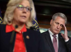 WASHINGTON, DC - FEBRUARY 13: House Minority Leader Kevin McCarthy (R-CA) (R) listens to House Republican Conference Chair Rep. Liz Cheney (R-WY) during a news conference following a caucus meeting at the U.S. Capitol Visitors Center February 13, 2019 in Washington, DC. McCarthy said that he supports the framework of a bipartisan spending deal that would avert another partial federal government shutdown but is waiting to read the bill before deciding on whether he would vote for it. (Photo by Chip Somodevilla/Getty Images)