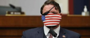 Representative Dan Crenshaw, a Republican from Texas, wears a protective mask during a House Homeland Security Committee security hearing in Washington, D.C., U.S., on Thursday, Sept. 17, 2020. The hearing focused on international terrorism threats, the rise in domestic terrorism incidents and recent shootings as well as election security and cyber threats. Photographer: Chip Somodevilla/Getty Images/Bloomberg via Getty Images