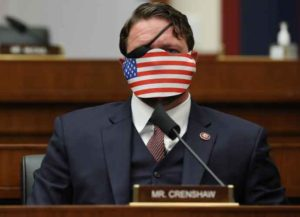 Acting DHS Secretary Wolf And FBI Director Wray Testify Before House Homeland Security Committee Representative Dan Crenshaw, a Republican from Texas, wears a protective mask during a House Homeland Security Committee security hearing in Washington, D.C., U.S., on Thursday, Sept. 17, 2020. The hearing focused on international terrorism threats, the rise in domestic terrorism incidents and recent shootings as well as election security and cyber threats. Photographer: Chip Somodevilla/Getty Images/Bloomberg via Getty Images