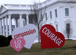 WASHINGTON, DC - FEBRUARY 12: Heart-shape signs with Valentine messages are on display on the North Lawn of the White House February 12, 2021 in Washington, DC. The office of first lady Jill Biden set up the Valentine messages to the country overnight to mark Valentine's Day. According to a media release, Valentine's Day has always been one of the favorite holidays of the first lady. (Photo by Alex Wong/Getty Images)