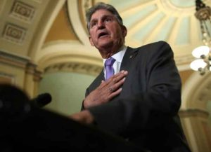 WASHINGTON, DC - JULY 09: Sen. Joe Manchin (D-WV) answers questions at the U.S. Capitol on July 09, 2019 in Washington, DC. Senate Majority Leaders Chuck Schumer answered a range of questions during the press conference including queries on recent court cases involving the Affordable Care Act. (Photo by Win McNamee/Getty Images)