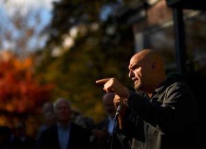 CHALFONT, PA - NOVEMBER 3: Democratic Lieutenant Governor hopeful John Fetterman speaks while campaigning with Pennsylvania Governor Tom Wolf, Senator Bob Casey (D- PA), and Congressman Dwight Evans (D-PA) at R L Showalter on November 3, 2018 in Chalfont, Pennsylvania. Midterm election day is November 6th. (Photo by Mark Makela/Getty Images)