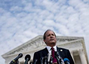 Ken Paxton, Texas attorney general, speaks during a news conference outside the Supreme Court in Washington, D.C., U.S., on Monday, Sept. 9, 2019. A group of 50 attorneys general opened a broad investigation into whether advertising practices of Alphabet Inc.'s Google violate antitrust laws. Photographer: Andrew Harrer/Bloomberg via Getty Images
