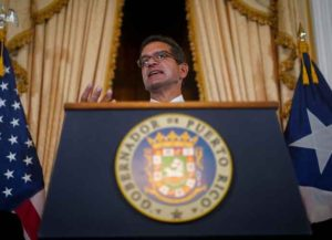 SAN JUAN, PUERTO RICO: Puerto Rico interim governor Pedro Pierluisi answers questions during a press conference on his first day in the government's mansion on August 2, 2019 in San Juan, Puerto Rico. (Photo by Angel Valentin/Getty Images)