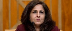 WASHINGTON, DC - FEBRUARY 10: Neera Tanden, President Joe Bidens nominee for Director of the Office of Management and Budget (OMB), appears before a Senate Committee on the Budget hearing on Capitol Hill on February 10, 2021 in Washington, DC. Tanden helped found the Center for American Progress, a policy research and advocacy organization and has held senior advisory positions in Democratic politics since the Clinton administration. (Photo by Andrew Harnik-Pool/Getty Images)