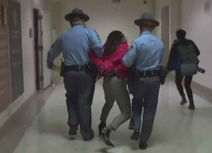 Georgia State Rep. Park Cannon arrested in Georgia Capitol while trying to observe Gov. Brian Kemp's signing of new voter restriction law (Image: Twitter)
