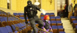 Zip Tie Guy' Eric Munchel in the Senate Chamber during the Capitol Riots (Image: Getty)