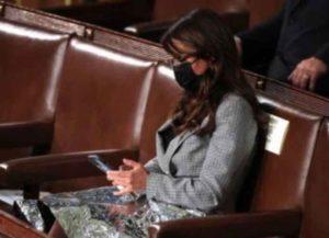 Rep. Lauren Boebert (R-Colorado) uses space blanket at Biden's Congressional address (Image: YouTube)