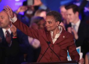 CHICAGO, ILLINOIS - APRIL 02: Lori Lightfoot delivers a victory speech after defeating Cook County Board President Toni Preckwinkle to become the next mayor of Chicago on April 02, 2019 in Chicago, Illinois. Lightfoot will become the first black female mayor of the city and its first openly gay mayor. (Photo by Scott Olson/Getty Images)