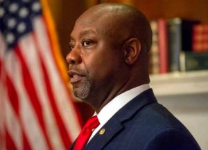 WASHINGTON, DC - SEPTEMBER 29: U.S. Sen. Tim Scott (R-SC) poses before a meeting with Seventh Circuit Court Judge Amy Coney Barrett, President's Trump's pick for the Supreme Court, in the Mansfield Room of the U.S. Capitol on September 29, 2020 in Washington, DC. Barrett is meeting with senators ahead of her confirmation hearing on October 12, less than a month before the general election. (Photo by Bonnie Cash-Pool/Getty Images)