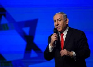 JERUSALEM, ISRAEL - JANUARY 21: Israeli Prime Minister, Benjamin Netanyahu speaks at a Likud Party campaign rally on January 21, 2020 in Jerusalem, Israel. Israel to hold third election in less than a year after politicans faild to form a coalition. (Photo by Amir Levy/Getty Images)