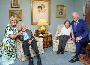 Jimmy & Rosalynn Carter visit with Joe and Jill Biden (Image: Instagram)