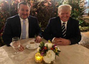 Sen. Ted Cruz dines with Donald Trump at Mar-a-Lago (Image: Instagram)