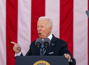 U.S. President Joe Biden speaks during a Memorial Day ceremony at Arlington National Cemetery in Arlington, Virginia, U.S., on Monday, May 31, 2021. Biden's $6 trillion budget request proposes record spending to reduce historical disparities in underserved communities, following his campaign pledge to promote racial equity as an inseparable part of rebuilding the economy. Photographer: Tasos Katopodis/UPI/Bloomberg via Getty Images