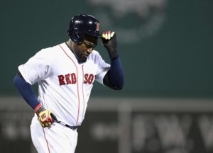BOSTON, MA - OCTOBER 10: David Ortiz #34 of the Boston Red Sox reacts after the second inning against the Cleveland Indians during game three of the American League Divison Series at Fenway Park on October 10, 2016 in Boston, Massachusetts. (Photo by Maddie Meyer/Getty Images)
