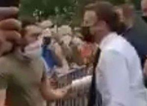 French president Emmanuel Macron slapped (Image: YouTube)