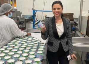 Ayelet Shaked, Israel's minister of interior, at Ben & Jerry's factory (Image: Twitter)