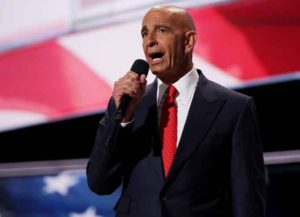 CLEVELAND, OH - JULY 21: Tom Barrack, former Deputy Interior Undersecretary in the Reagan administration, delivers a speech on the fourth day of the Republican National Convention on July 21, 2016 at the Quicken Loans Arena in Cleveland, Ohio. Republican presidential candidate Donald Trump received the number of votes needed to secure the party's nomination. An estimated 50,000 people are expected in Cleveland, including hundreds of protesters and members of the media. The four-day Republican National Convention kicked off on July 18. (Photo by Chip Somodevilla/Getty Images)