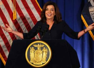 ALBANY, NEW YORK - AUGUST 11: Lt. Gov. Kathy Hochul speaks during a press conference at the New York State Capitol on August 11, 2021 in Albany City. Lt. Gov. and incoming NY Gov. Kathy Hochul gave her first press conference after Gov. Andrew Cuomo announced that he will be resigning following the release of a report by the New York State Attorney General Letitia James, that concluded that Cuomo sexually harassed nearly a dozen women. Hochul will be New York's first woman governor. (Photo by Michael M. Santiago/Getty Images)
