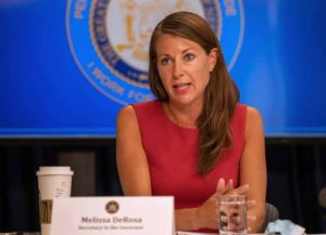 NEW YORK, NY - JULY 6: New York Secretary to the Governor Melissa DeRosa speaks during a COVID-19 briefing on July 6, 2020 in New York City. On the 128th day since the first confirmed case in New York and on the first day of phase 3 of the reopening, Gov. Cuomo asked New Yorkers to continue to be smart while citing the rise of infections in other states. (Photo by David Dee Delgado/Getty Images)